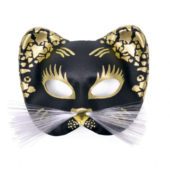 Black/Gold Cat Mask Feline Pussy Pet Animal Fancy Dress
